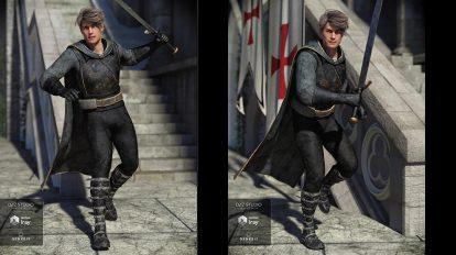مدل سه بعدی لباس جنگجو Rouge Hunter Outfit for Genesis 8
