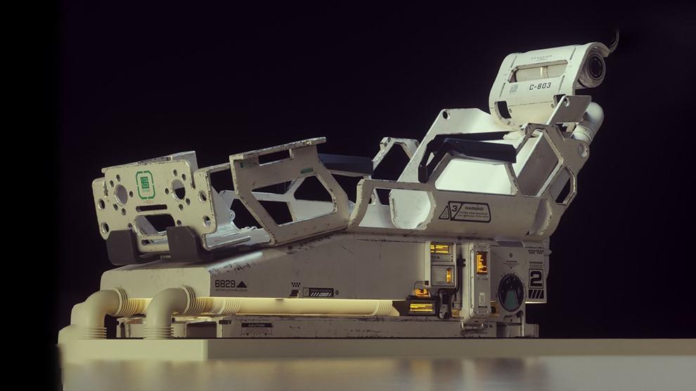 مجموعه مدل سه بعدی تخت پزشکی پیشرفته Sci-Fi Medical Bed