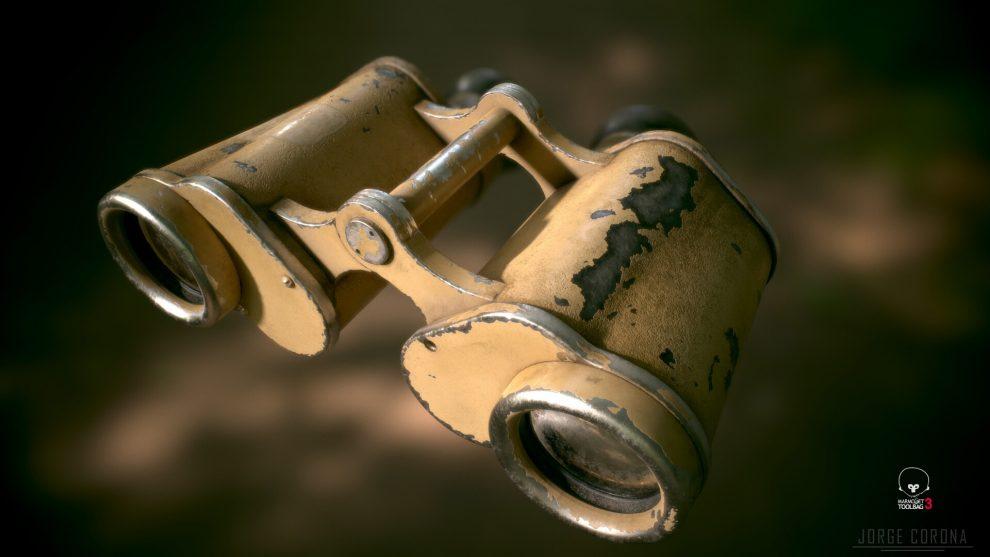 مدل سه بعدی دوربین شکاری WW2 German Military Binoculars