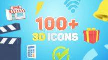 پروژه افترافکت مجموعه انیمیشن آیکون سه بعدی 3D Icons for Explainer Video