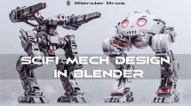 آموزش طراحی مدل ربات در بلندر SciFi Mech Design in Blender