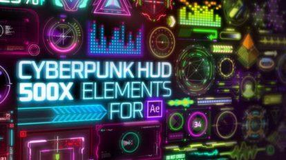 پروژه افترافکت مجموعه موشن با استایل سایبرپانک Cyberpunk HUD Elements