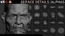 مجموعه تصاویر آلفا جزییات صورت Face Details Alphas