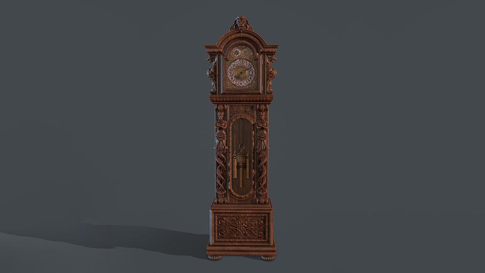 مدل سه بعدی ساعت قدیمی Grandfather Clock
