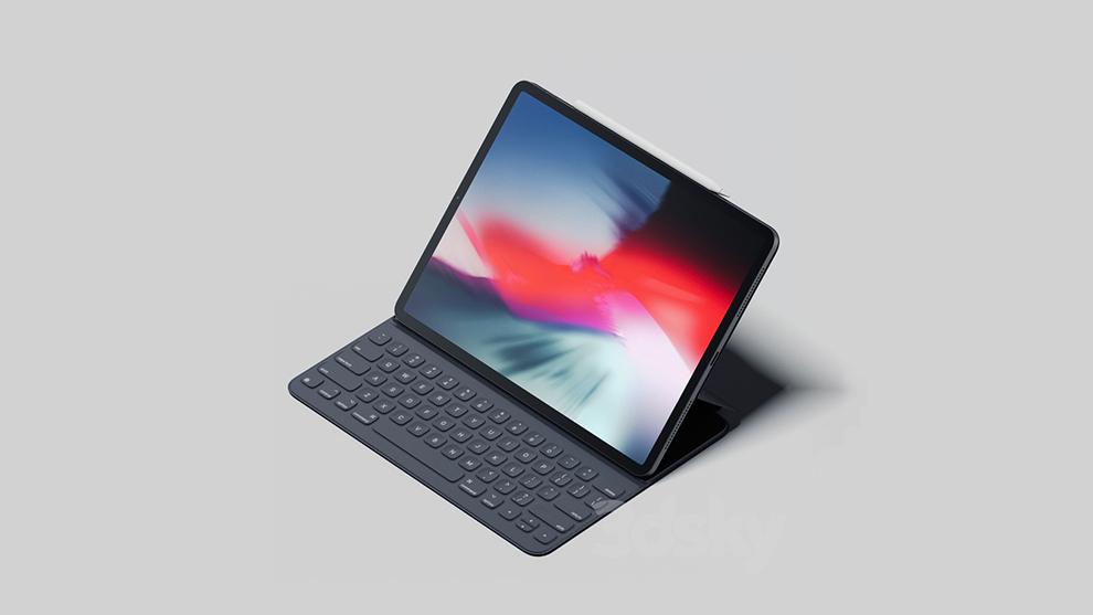 مدل سه بعدی تبلت با کیبورد iPad Pro 2018