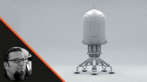 آموزش مدلسازی ناو فضایی در سینمافوردی Spaceship Lander in Cinema 4D