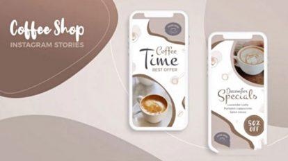 پروژه افترافکت استوری اینستاگرام کافی شاپ Social Media Stories Coffee Shop