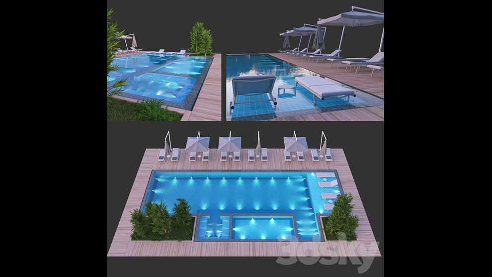 مدل سه بعدی استخر Swimming Pool 8