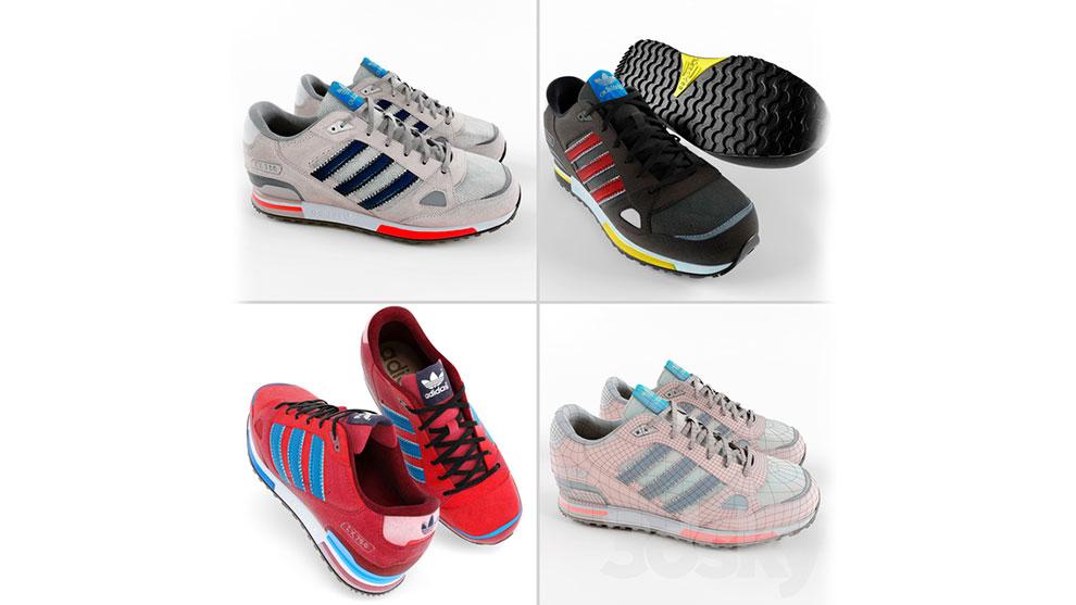 مجموعه مدل سه بعدی کفش آدیداس Adidas ZX 750 Running Shoes