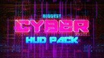 پروژه افترافکت مجموعه انیمیشن سایبرپانک Biggest Cyber HUD Pack