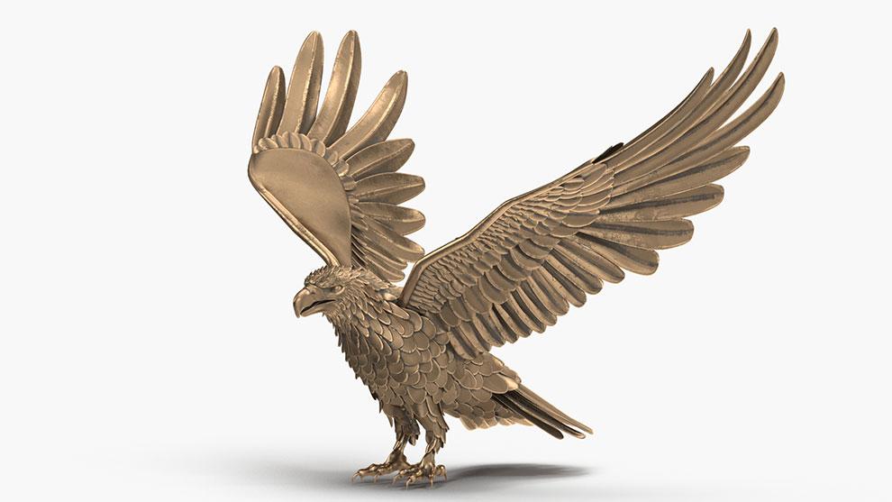 مدل سه بعدی مجسمه عقاب برنز Bronze Eagle