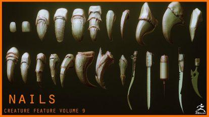 مجموعه مدل سه بعدی و پریست ناخن موجودات Character Creature Claws Nails