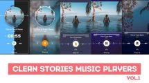 پروژه افترافکت مجموعه استوری پخش موزیک Clean Stories Music Players