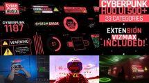پروژه افترافکت اجزای اینفوگرافیک سایبرپانک Cyberpunk HUD UI