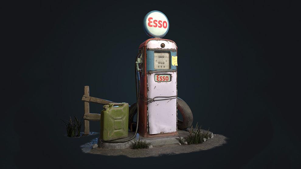 مدل سه بعدی پمپ گاز قدیمی Esso Gas Pump
