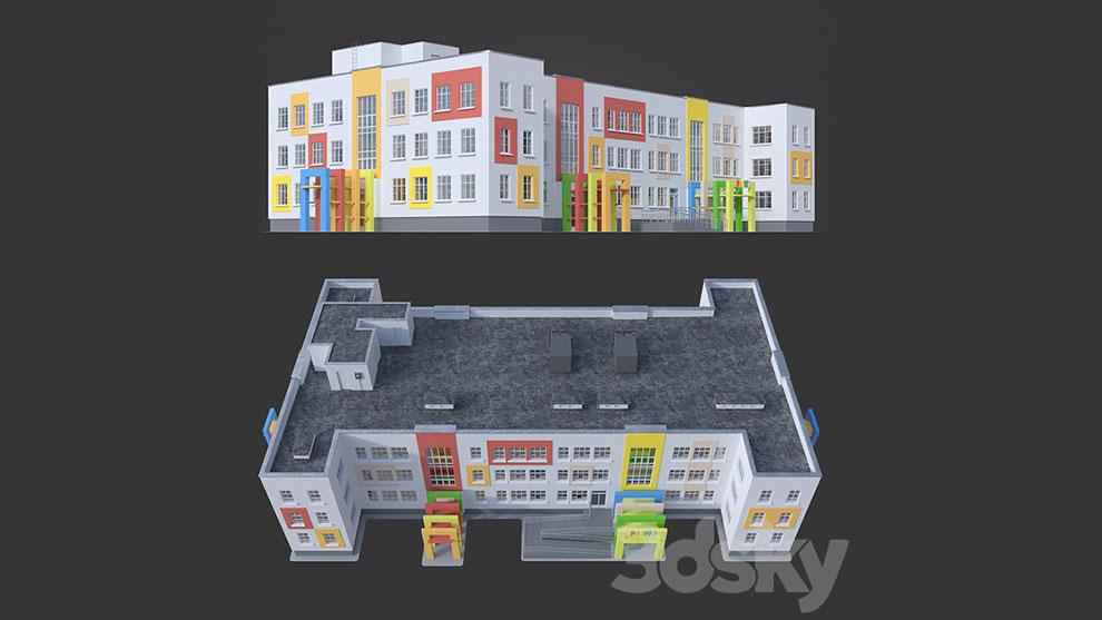 مدل سه بعدی ساختمان مهد کودک Kindergarten Rainbow