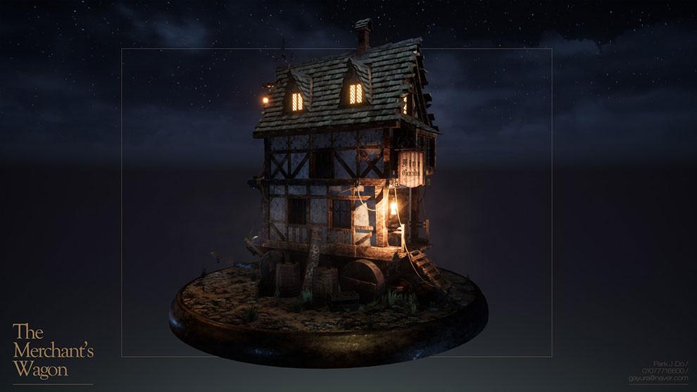 مدل سه بعدی خانه واگنی تاجر Merchants Wagon