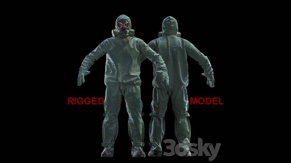مدل سه بعدی کاراکتر با لباس محافظ Protective Suit Rigged