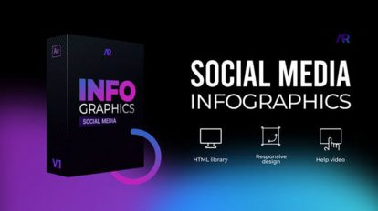 پروژه افترافکت مجموعه اینفوگرافیک شبکه اجتماعی Infographics