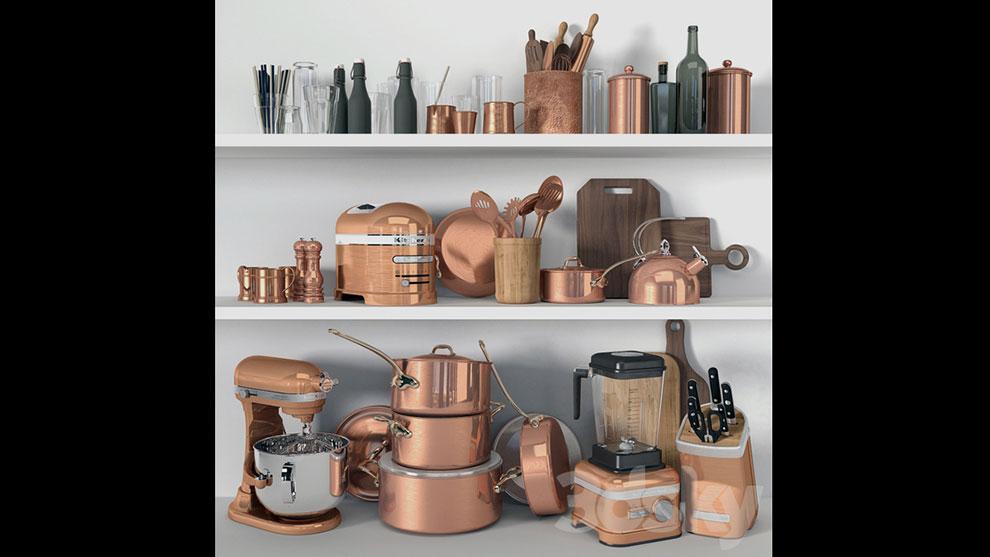 مجموعه مدل سه بعدی لوازم آشپزخانه Set of Kitchen Decor