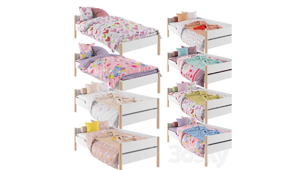 مدل سه بعدی تختخواب دخترانه Bed Linen for the Girl 01
