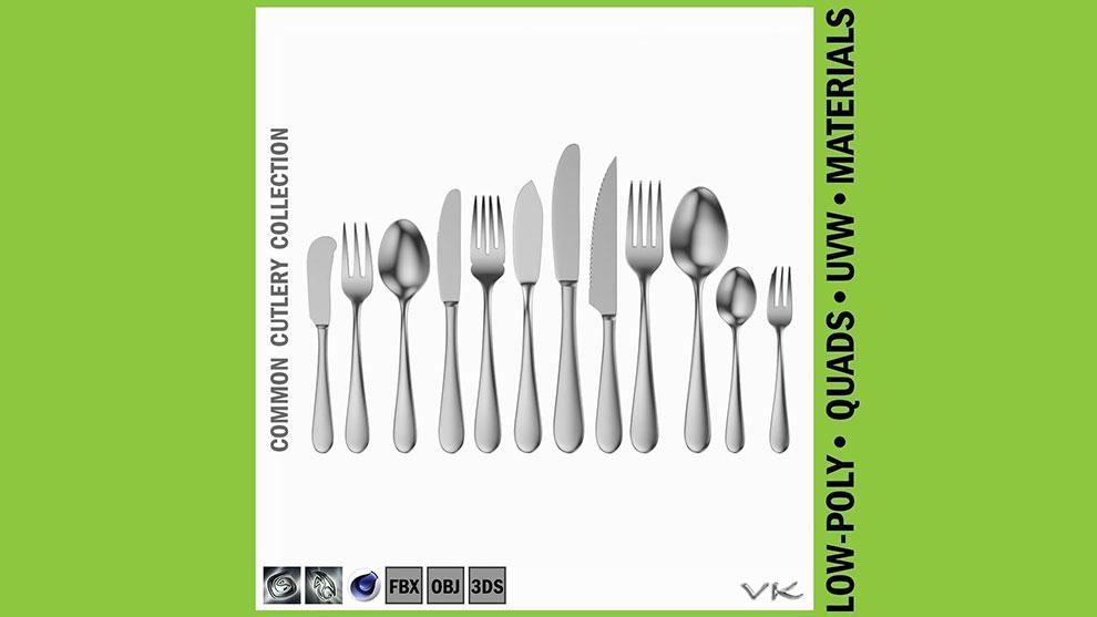 مجموعه مدل سه بعدی قاشق چنگال Common Cutlery Set
