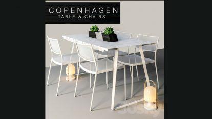 مدل سه بعدی میز و صندلی Copenhagen Chairs Table