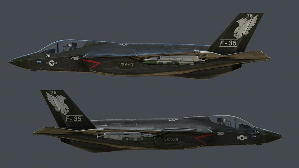 مدل سه بعدی جت جنگی F35 Game Ready