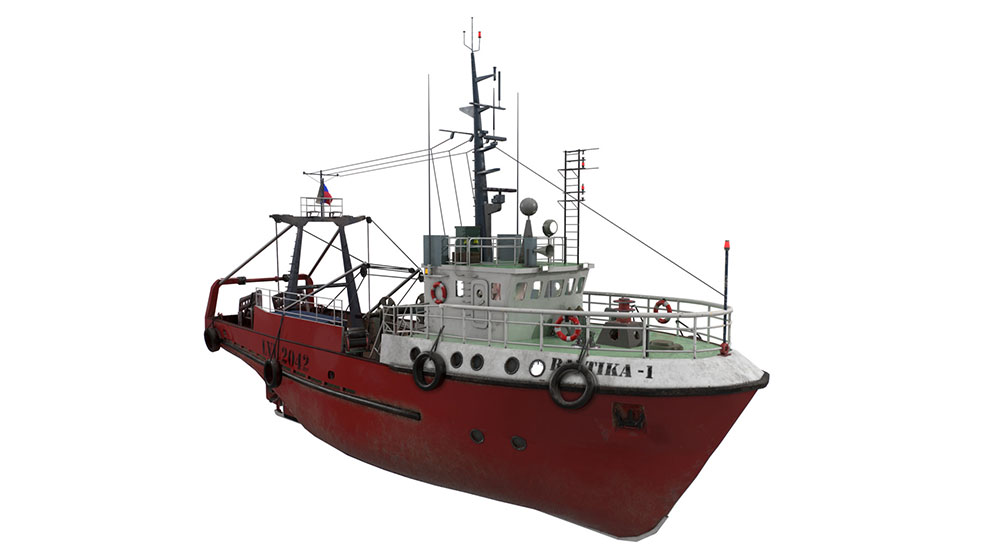 مدل سه بعدی کشتی ماهیگیری Fishing Trawler Refrigerator Ship