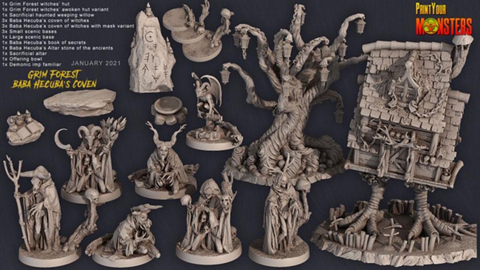 مجموعه مدل سه بعدی مجسمه ترسناک Grim Forest