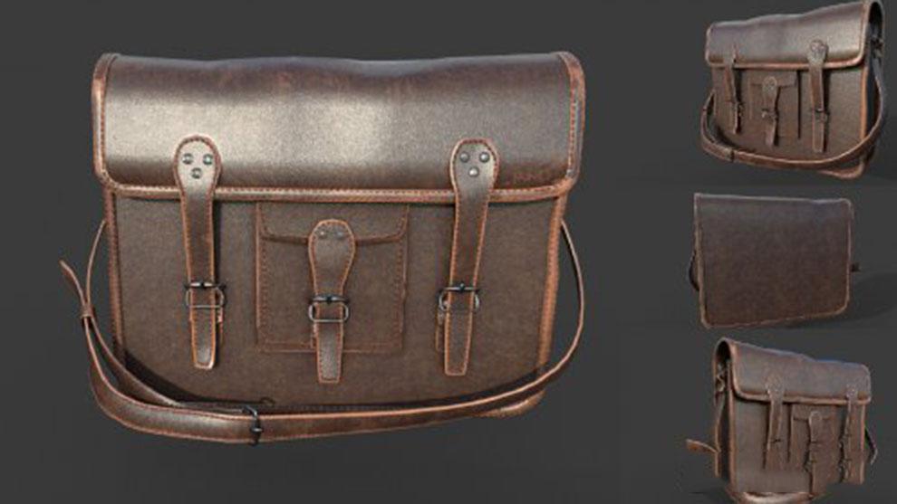 مدل سه بعدی کیف چرمی Leather Bag
