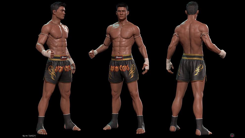 مدل سه بعدی کاراکتر جنگجو مرد Muay Thai Male Fighter