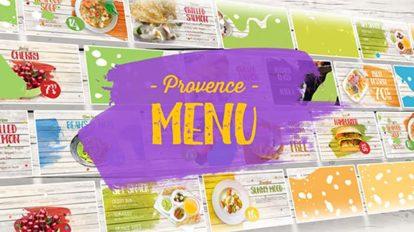 پروژه افترافکت نمایش غذاهای منو Provence Menu