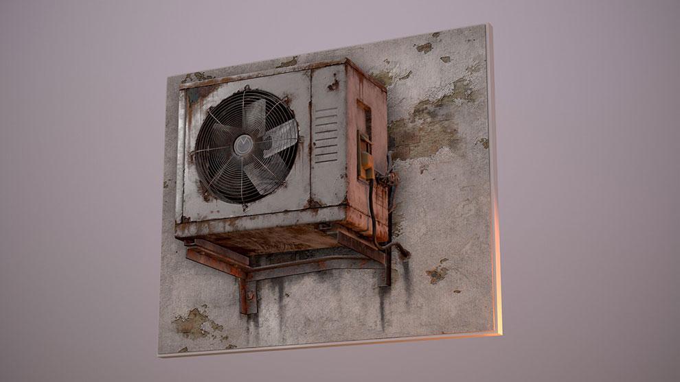 مدل سه بعدی دستگاه تهویه Realistic AC Unit