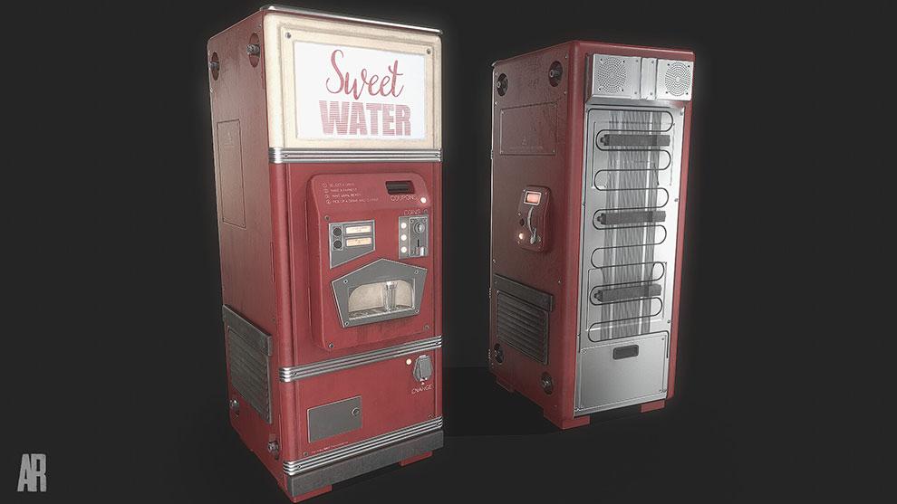 مدل سه بعدی دستگاه خرید نوشیدنی Retro Futurisitc Soda Machine