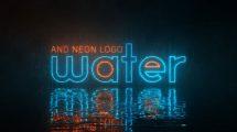 پروژه افترافکت نمایش لوگو نئون با سطح آب Water and Neon Logo