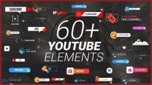 پروژه افترافکت مجموعه انیمیشن دکمه برای یوتیوب Youtube Buttons Pack