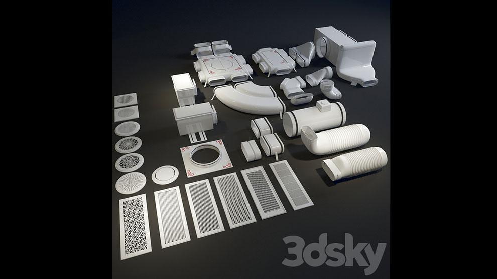 مجموعه مدل سه بعدی اجزای سیستم تهویه Zehnder Ventilation
