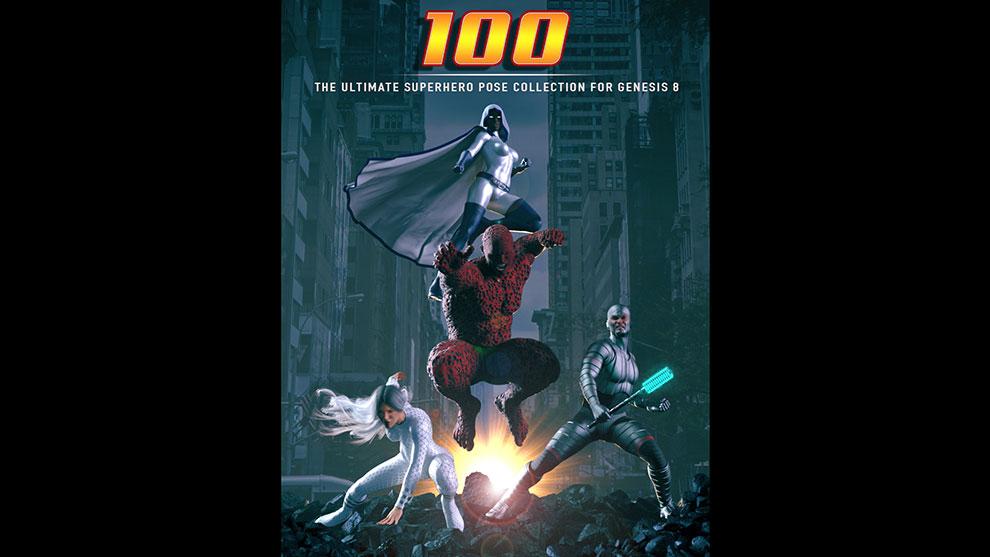 مجموعه پریست ژست کاراکتر ابرقهرمان Ultimate Superhero Poses for Genesis 8