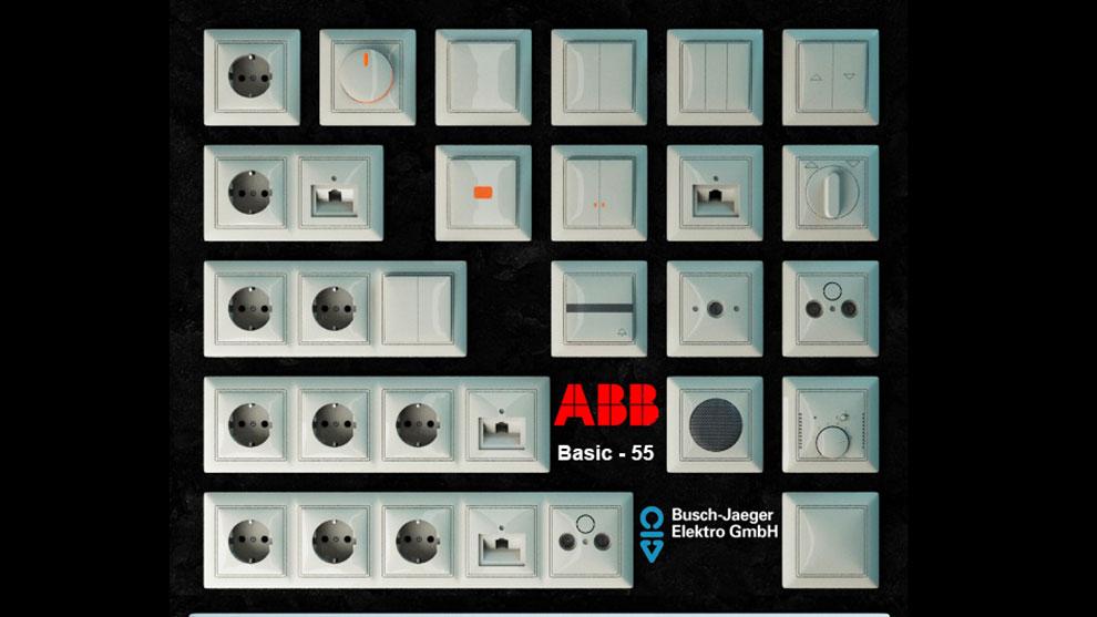 مجموعه مدل سه بعدی پریز برق ABB Basic-55