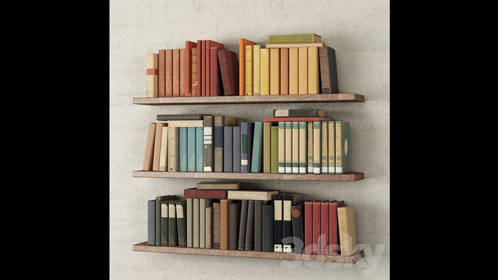 مدل سه بعدی قفسه کتاب دیواری Books on the Shelf