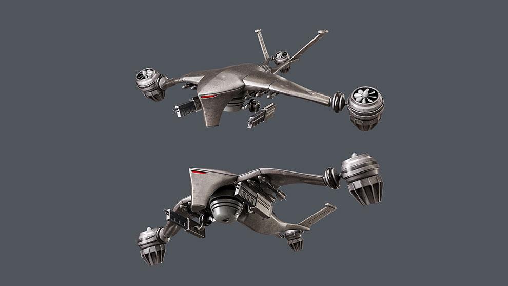 مدل سه بعدی درن جنگی Huner Killer Drone
