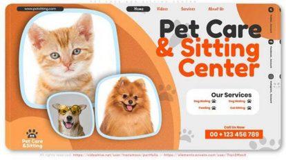 پروژه افترافکت تیزر تبلیغاتی مرکز درمانی حیوانات Pet Care and Sitting Center