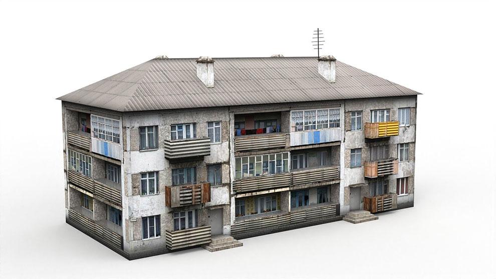 مدل سه بعدی آپارتمان قدیمی سه طبقه Three Storey House