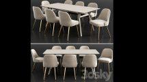 مدل سه بعدی میز و صندلی Wes Elm Dining Set 11