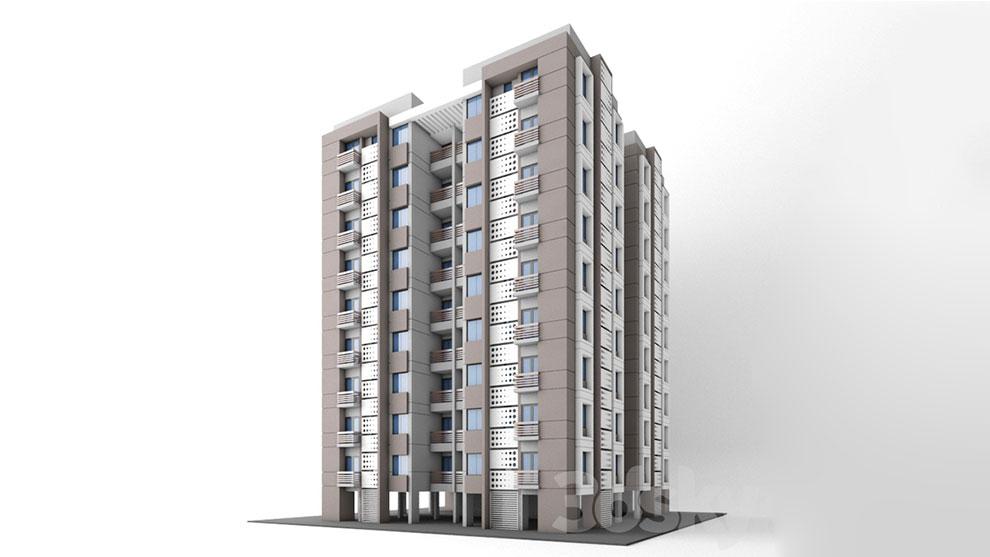 مدل سه بعدی آپارتمان Apartment Highrise Indian