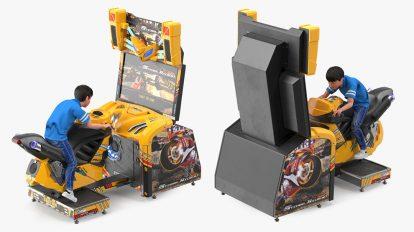 مدل سه بعدی پسربچه روی دستگاه بازی Boy Racing Arcade Game