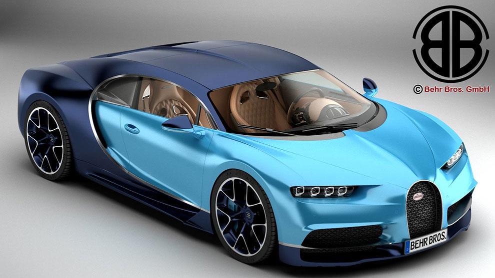 مدل سه بعدی خودرو بوگاتی Bugatti Chiron 2017