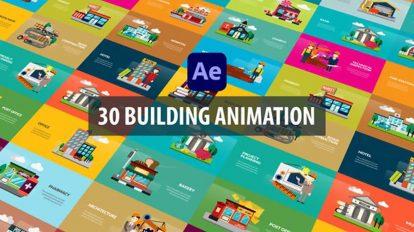 پروژه افترافکت مجموعه موشن گرافیک با ساختمان Building Animation