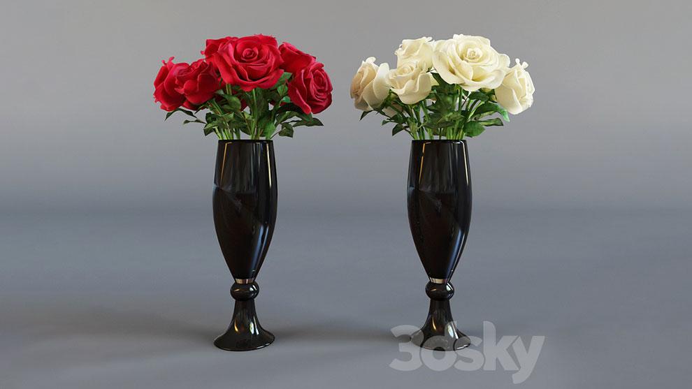 مدل سه بعدی گلدان رز Four Bouquet of Roses